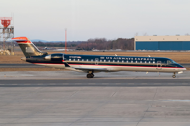 Taxiing towards the terminal for this US Airways Express CRJ.