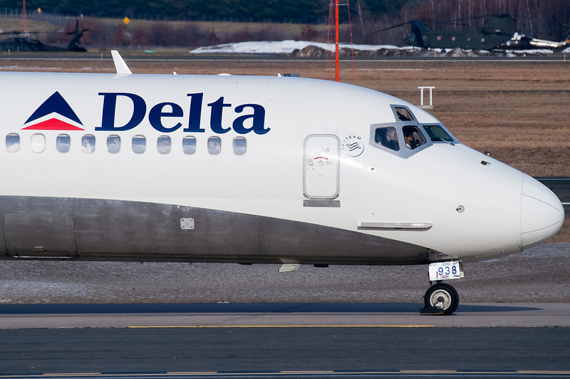 Closeup of this Delta MD-88 as it taxis towards the terminal.