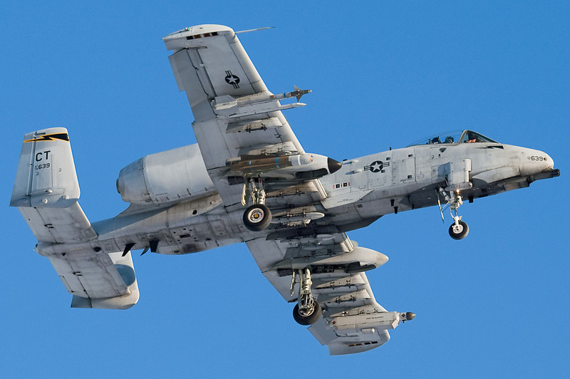 An A-10 of the CT Air National Guard is on final for runway 24.