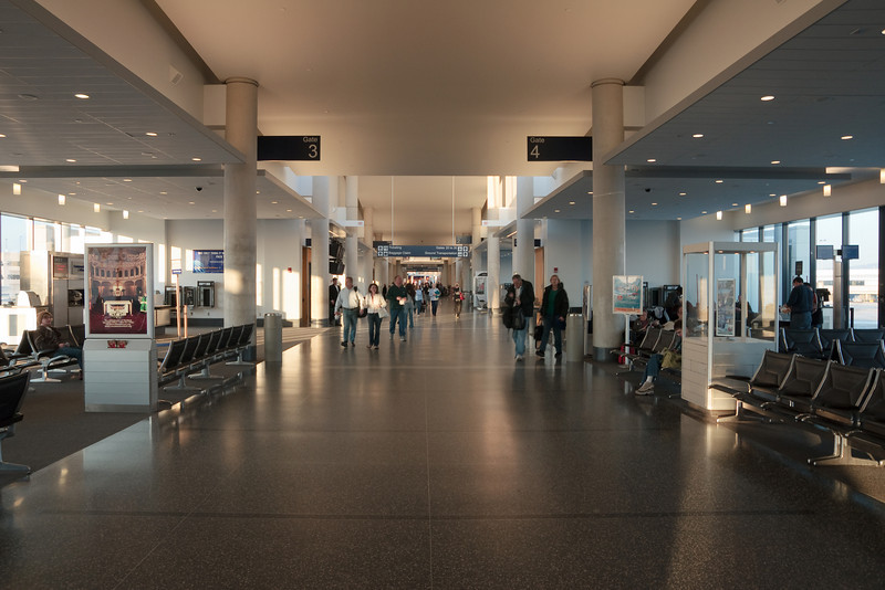 The interior of the newest wing of Terminal A in the early morning hours.