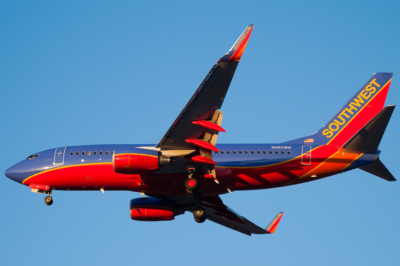 A sunset approach for this Southwest 737.