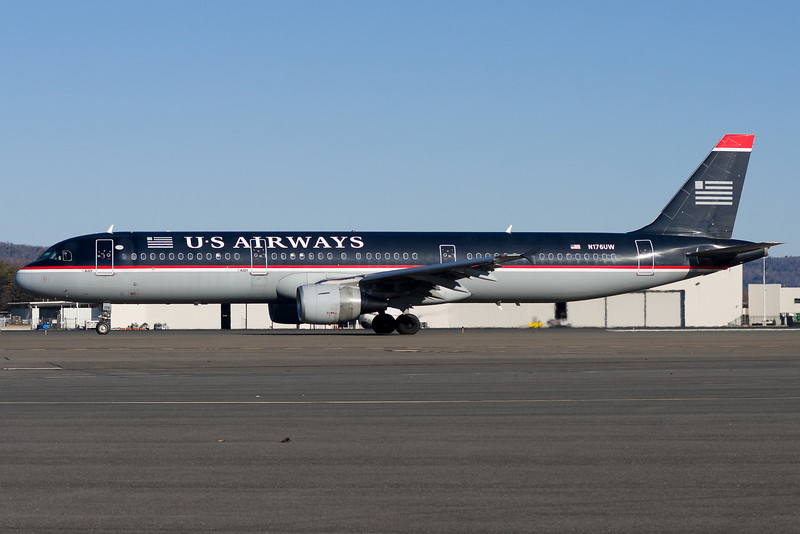 The US Airways A321 is Charlotte bound.