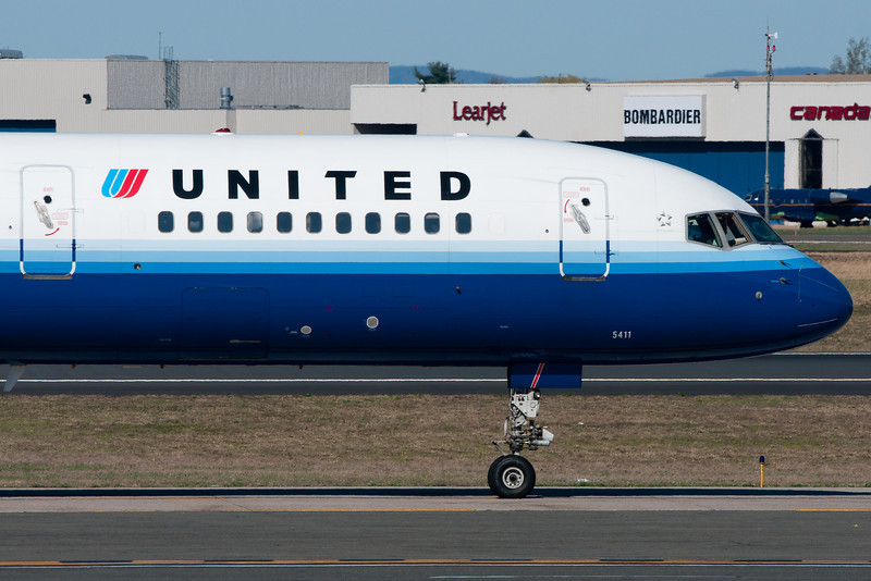 This is a close-up view of the forward section of the United 757.