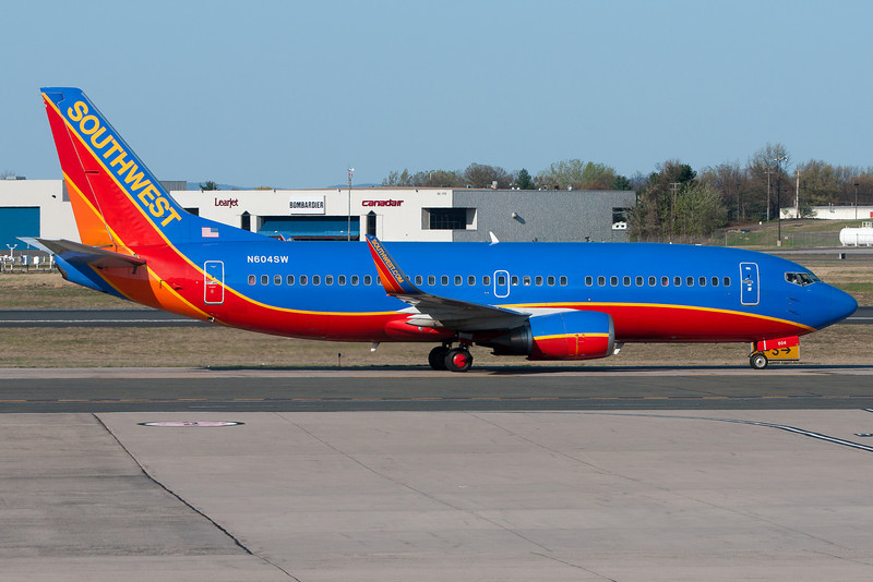 A Southwest 737 is heading for its gate at Terminal A.