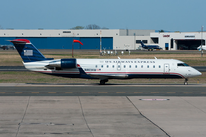 Air Wisconsin CRJ working for US Airways Express heads to the gate at terminal A.