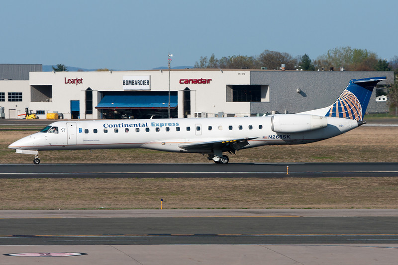This Continental Express ERJ is departing BDL and heading for Cleveland.