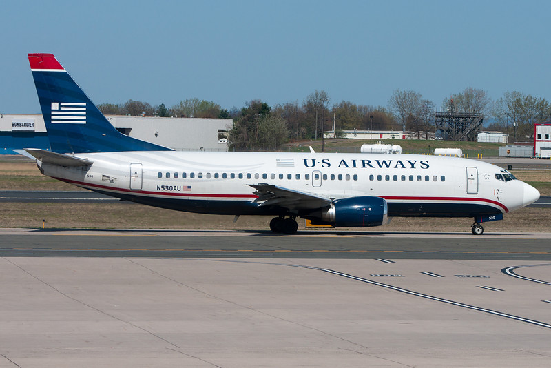 A US Airways 737 heading to Terminal A after arriving at BDL.