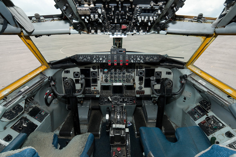 The cockpit of the KC-135R from McConnell AFB.
