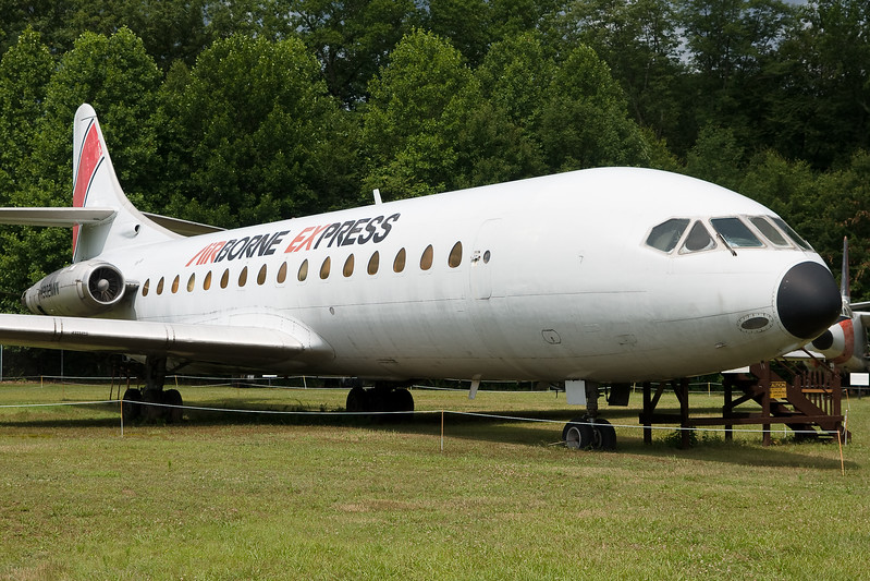 The Sud Caravelle at the New England Air Museum is parked outdoors.