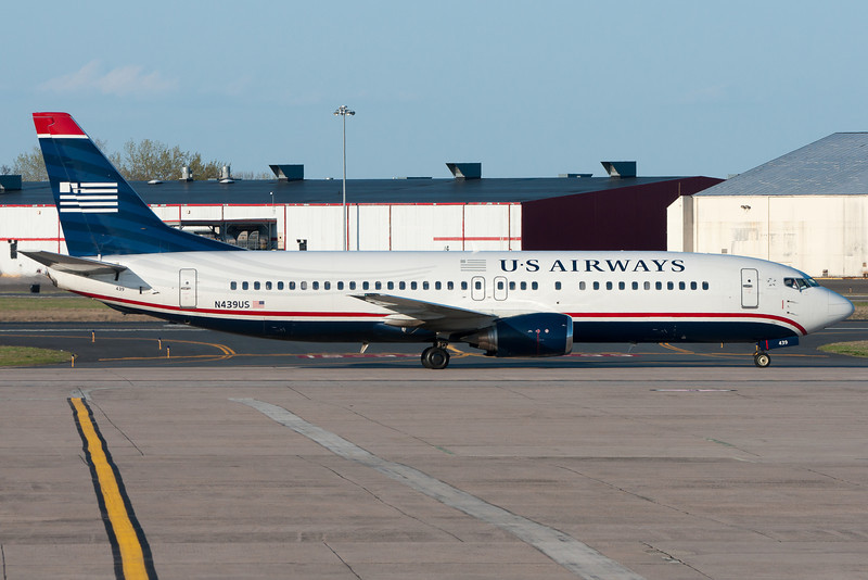 A US Airways 737 is about to pull into its Terminal A gate.