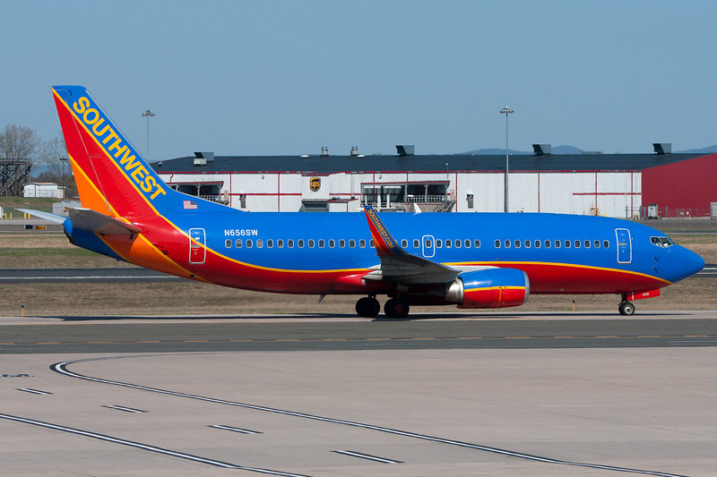 Southwest Airlines 737 heading to the gate at Terminal A.