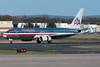 American's 737-800 throws down the reversers after arriving on BDL's runway 33.