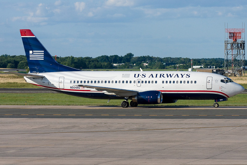 US Airways 737 taxiing to the gates.