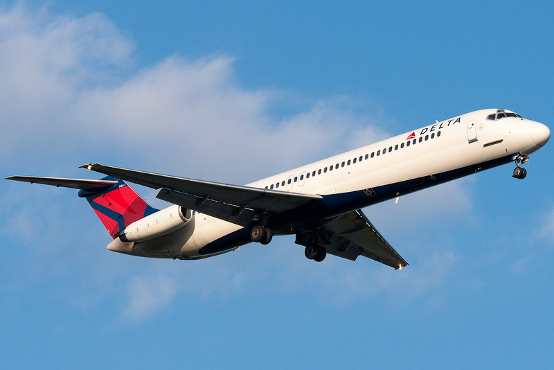 A Delta painted DC-9 on final for runway 24.