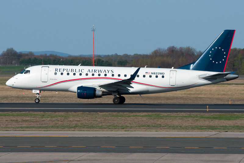 This Republic E-jet is departing Bradley airport.