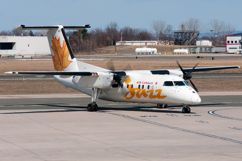 Arriving from Toronto, this Jazz Dash-8 is pulling up to Air Canada's gate, B-1, at Bradley.