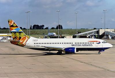 British Airways Boeing 737-36N  Birmingham - Int.l (Elmdon) (BHX / EGBB) UK - England, August 1999 Reg: G-XBHX  Cn: 28572/3031 Grand Union tail colurs