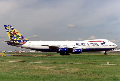 British Airways Boeing 747-236B  London - Heathrow (LHR / EGLL) UK - England, 1998  G-BDXG (cn 21536/328) 1998 was a good year for classic 747s in nice colours at LHR thanks to BA World Images. Swedish Blomstrang (Flower Fields) about to depart 27L. This was sold to European and was the pink c/s.