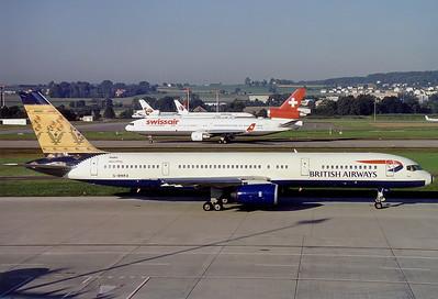 British Airways Boeing 757-236 Zurich (- Kloten) (ZRH / LSZH) Switzerland, August 2000 Reg: G-BMRA  Cn: 23710/123 India 'Paithani' World tail colours.