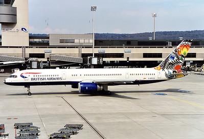"""British Airways Boeing 757-236  Zurich (- Kloten) (ZRH / LSZH) Switzerland, April 2000 Reg: G-BPED  Cn: 25059/363 BA 757 in """"Koguty Lowickie"""" World Tail colours"""