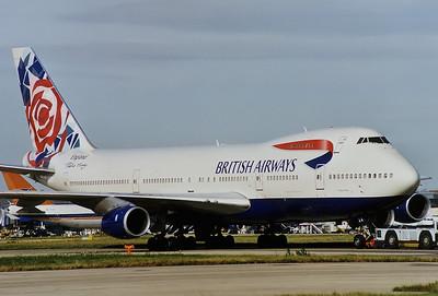 British Airways Boeing 747-236B London - Heathrow (LHR / EGLL) UK - England, July 1999   Reg: G-BDXK Cn: 22303/495 Wonderful 'Chelsea Rose' under tow.