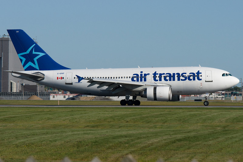 Air Transat Airbus A310 arriving at Montreal.