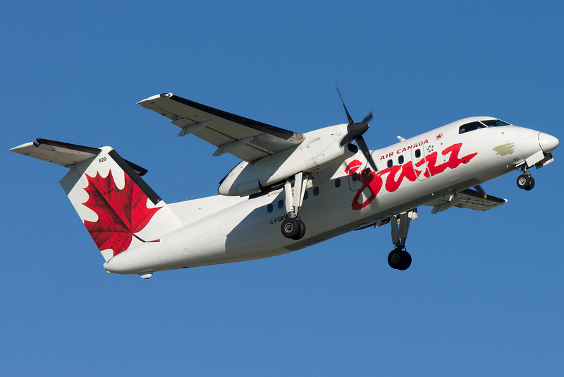 An Air Canada Jazz Dash 8 departs Montreal.