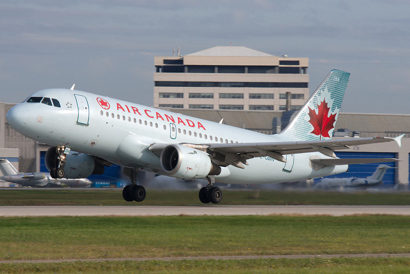 A fast takeoff for this Air Canada Airbus A319 at Montreal.