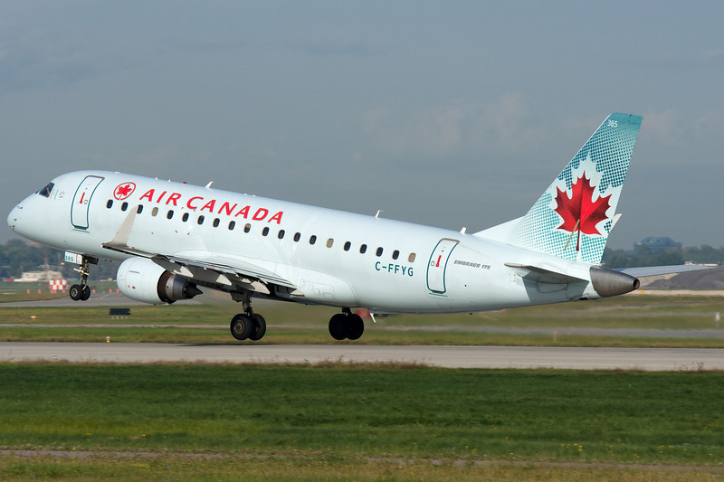 Rotation from runway 24L for this Air Canada Embraer at Montreal.
