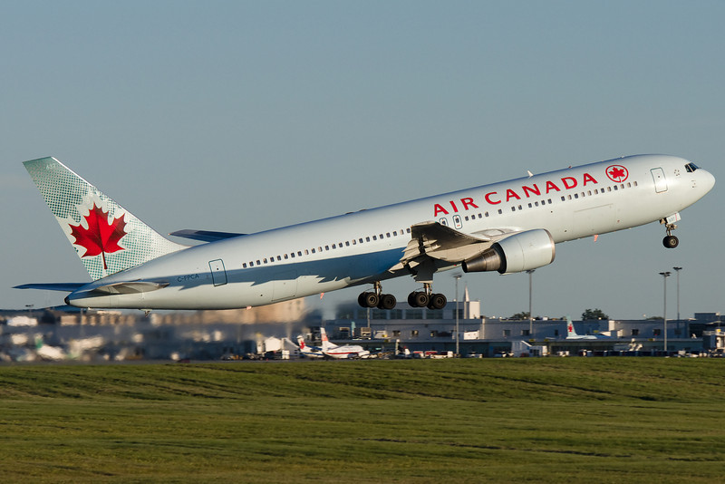 Air Canada 767 lifting up from runway 24R at Montreal.