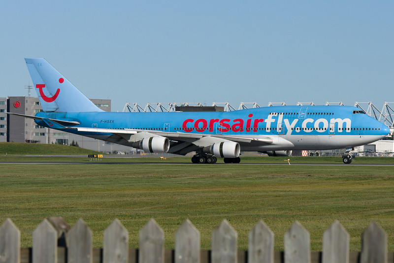 CorsairFly 747-400 arriving at Montreal.