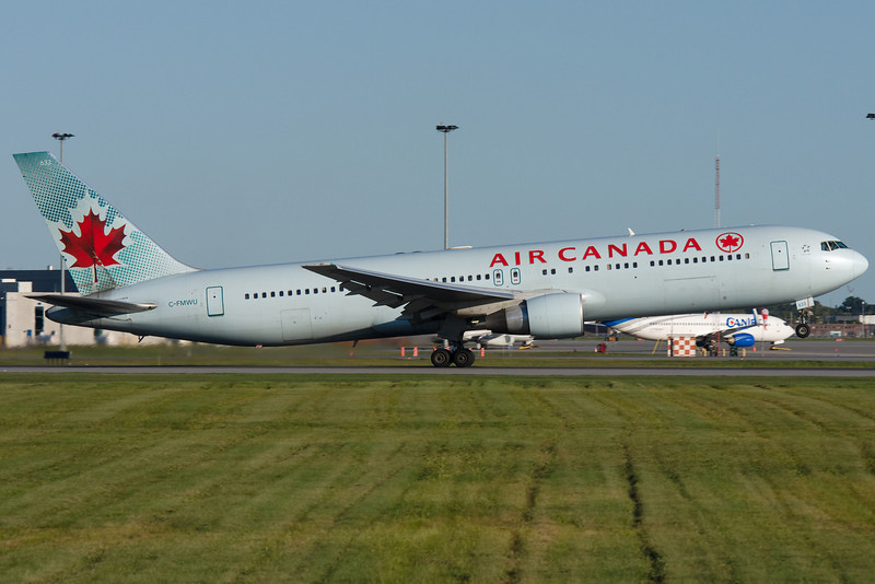 Air Canada 767 rotating from runway 24R at Montreal.