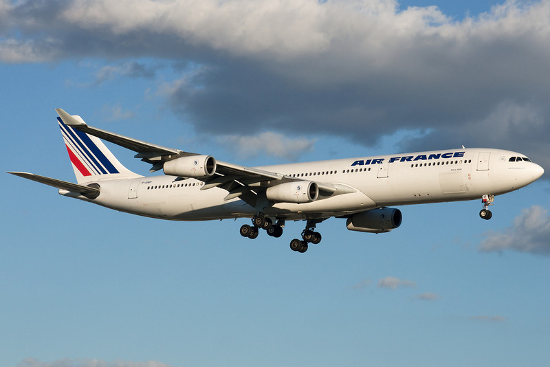 Air France Airbus A340 on final for 24R at Montreal.