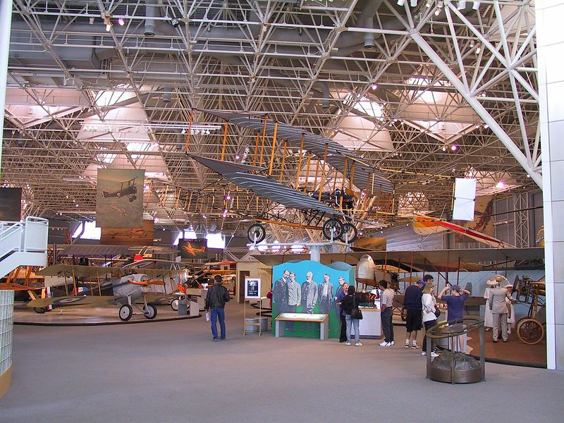Museum Entrance --- looking at the Silver Dart.  The first controlled powered flight in Canada occurred February 23, 1909 when the Silver Dart was flown off the ice at Baddeck, Nova Scotia.  1556_CRW_01