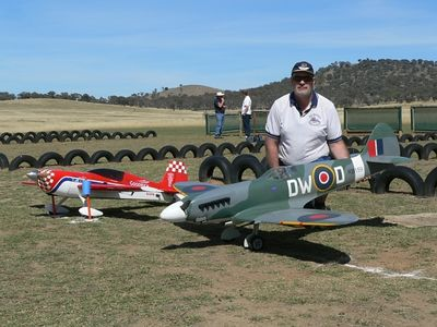 Chris Henry from Albury Twin Cities Club with his 1/5 scale Moki 1.8 powered Yellow Aircraft Spitfire