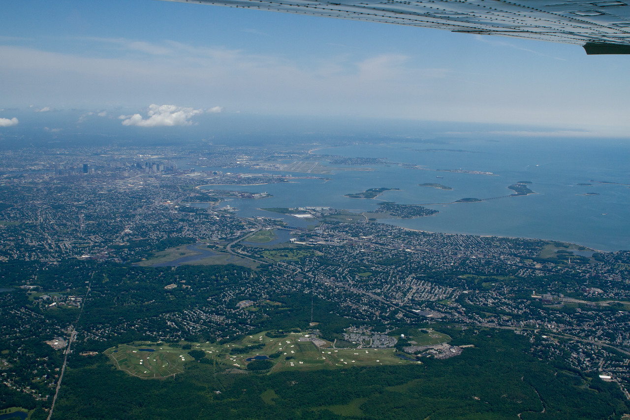 Looking back towards Logan.  Visible to the right is a fog bank over the Massachusetts Bay.