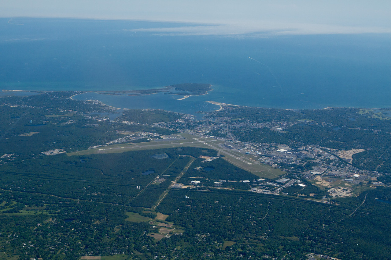 Hyannis - my destination last weekend - in the clear.  Nantucket behind is solidly IFR in low stratus fog!