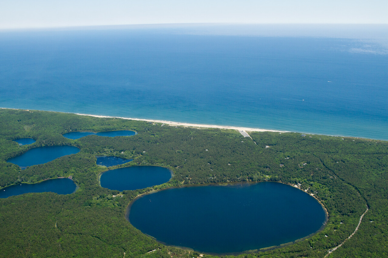 """Some round ponds on the eastern side of the """"vertical"""" part of the Cape."""