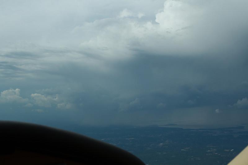 Increasing dark clouds and scud towards Boston.