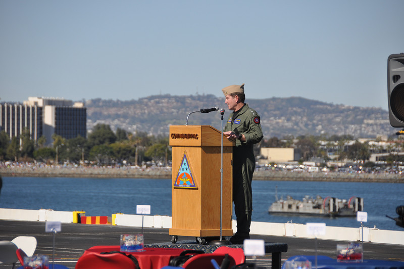 Vice Admiral Myers launching the Celebration of 100 years of Naval Aviation