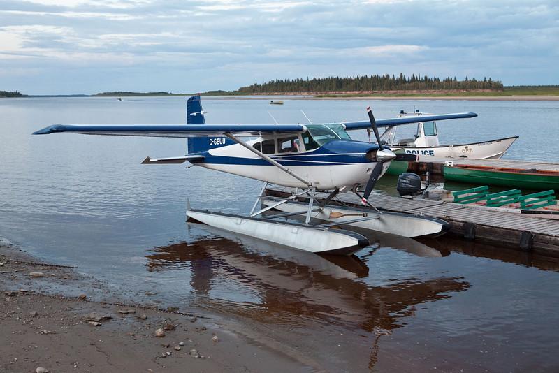 Cessna A185F Skywagon C-GEUU at Two Bay docks in Moosonee, Ontario on the Moose River 2010 July 9th.