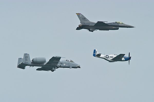 F-16 Fighting Falcon, A-10 Thunderbolt, P-51 Mustang