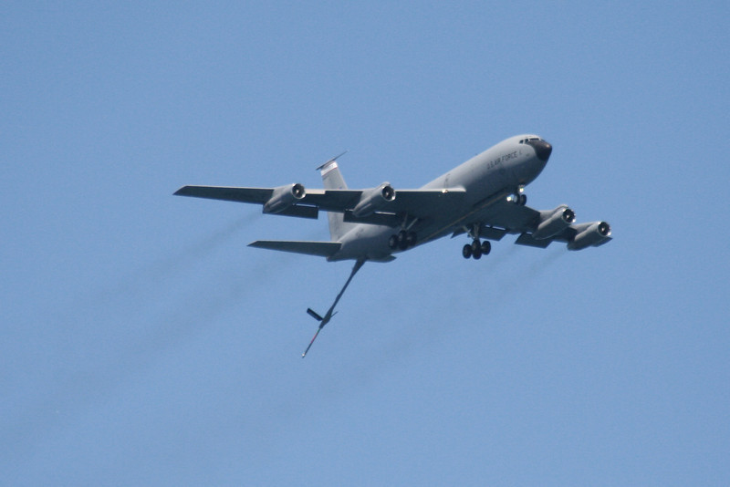 KC-135 Stratotanker with boom extended.