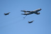 KC-135 Stratotanker with F-16 Falcons.
