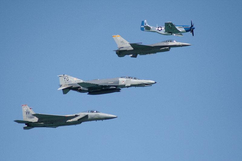 Heritage Flight.  P-51 Mustang, F-16 Falcon, F-4 Phantom, F-15 Eagle.