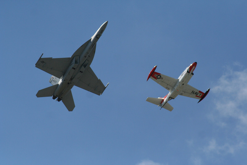 Heritage Flight.  F-18 Hornet and a T-2 Buckeye.