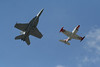 Heritage Flight.  F-18 Hornet and a T-2 Buckeye.