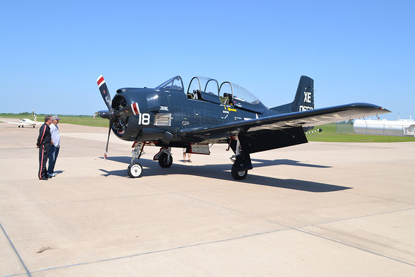 This T-28C model plane, used during the 1950s as mostly a military training craft and spotter plane, was flown in from Oklahoma City by pilots Jerry Fletcher and John Girtner.