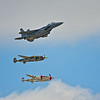 Heritage Flight with an F-15 Streak Eagle and Two P-38s