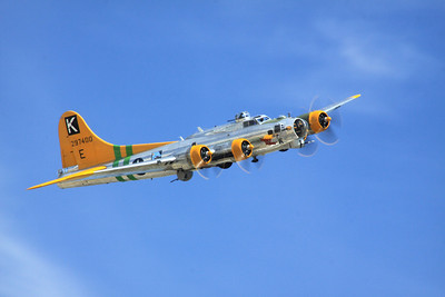"The B-17G ""Fuddy Duddy"" flies over the crowd at the 2014 Planes of Fame Airshow at Chino, CA."